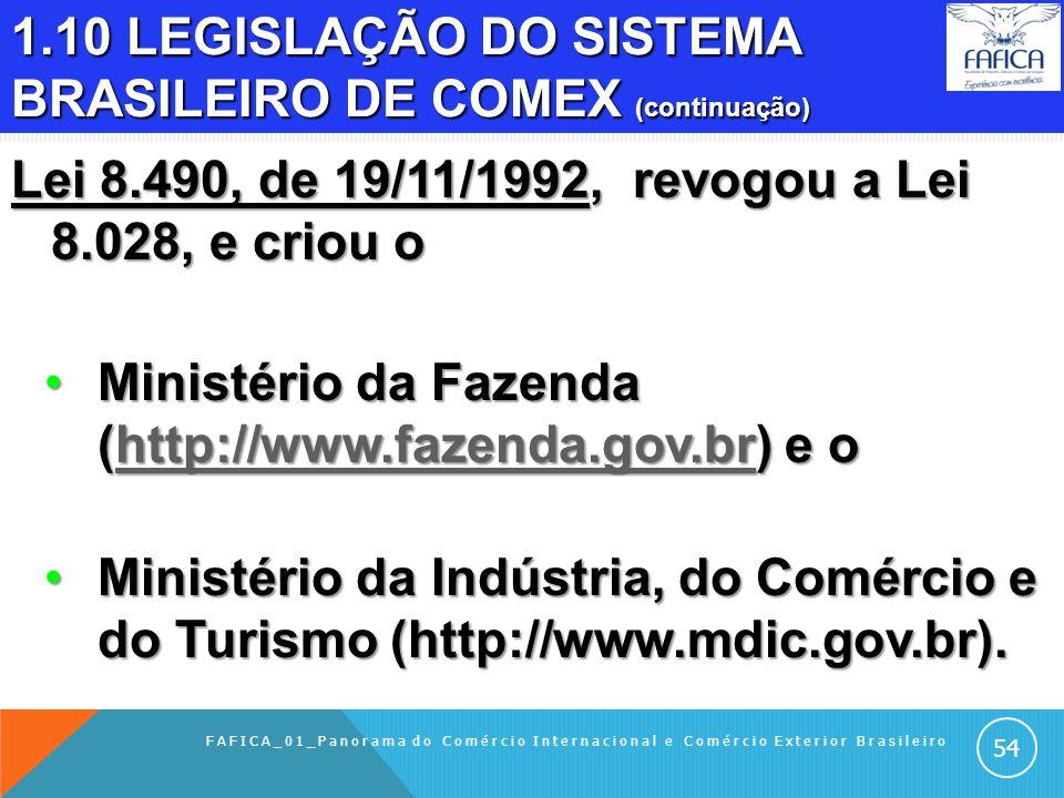 1.10 LEGISLAÇÃO DO SISTEMA BRASILEIRO DE COMEX (continuação) Lei 8.028, de 12/4/1990, criou o Ministério da Economia, Fazenda e Planejamento (http://w