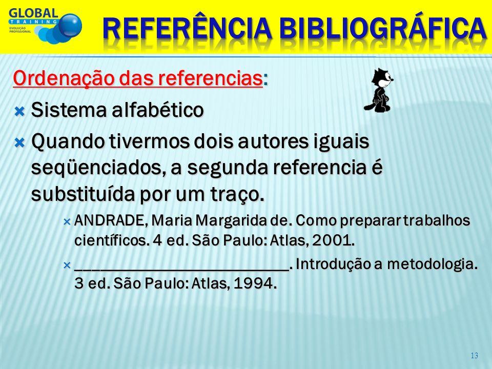 Ordenação das referencias: Sistema alfabético Sistema alfabético Quando tivermos dois autores iguais seqüenciados, a segunda referencia é substituída