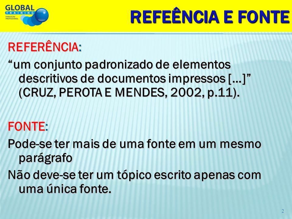 REFEÊNCIA E FONTE REFERÊNCIA: um conjunto padronizado de elementos descritivos de documentos impressos […] (CRUZ, PEROTA E MENDES, 2002, p.11). FONTE: