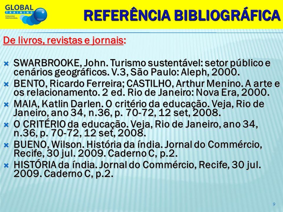REFERÊNCIA BIBLIOGRÁFICA De livros, revistas e jornais: SWARBROOKE, John. Turismo sustentável: setor público e cenários geográficos. V.3, São Paulo: A
