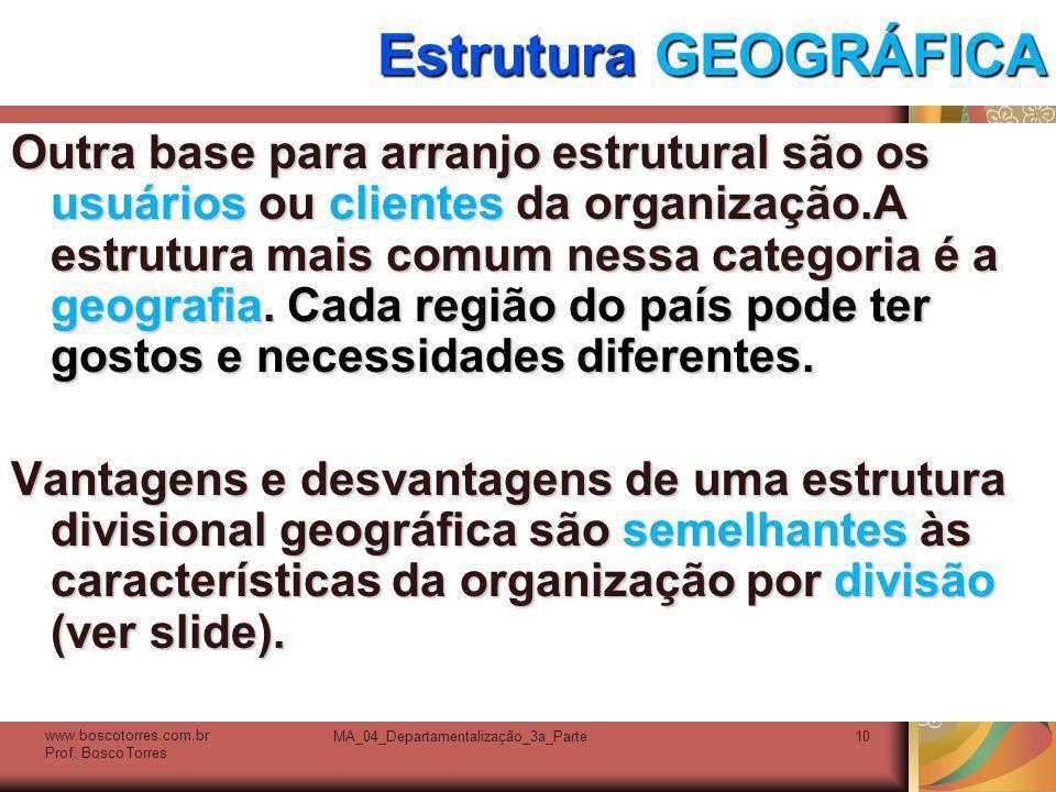 MA_04_Departamentalização_3a_Parte10 Estrutura GEOGRÁFICA Outra base para arranjo estrutural são os usuários ou clientes da organização.A estrutura ma