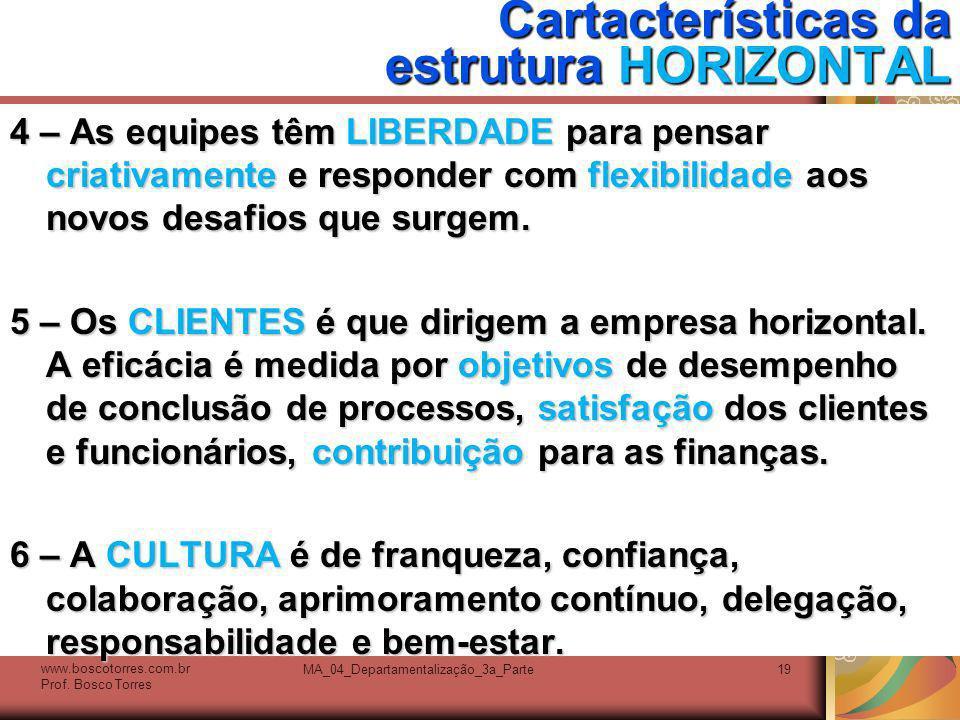 MA_04_Departamentalização_3a_Parte19 Cartacterísticas da estrutura HORIZONTAL 4 – As equipes têm LIBERDADE para pensar criativamente e responder com f