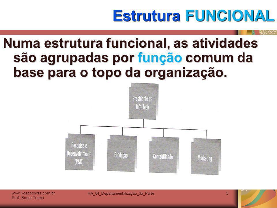MA_04_Departamentalização_3a_Parte6 Estrutura FUNCIONAL - vantagens Com uma estrutura funcional, todo o conhecimento e habilidades humanos com relação a atividades específicas são consolidados, propiciando uma profundidade de conhecimento valiosa para a organização.