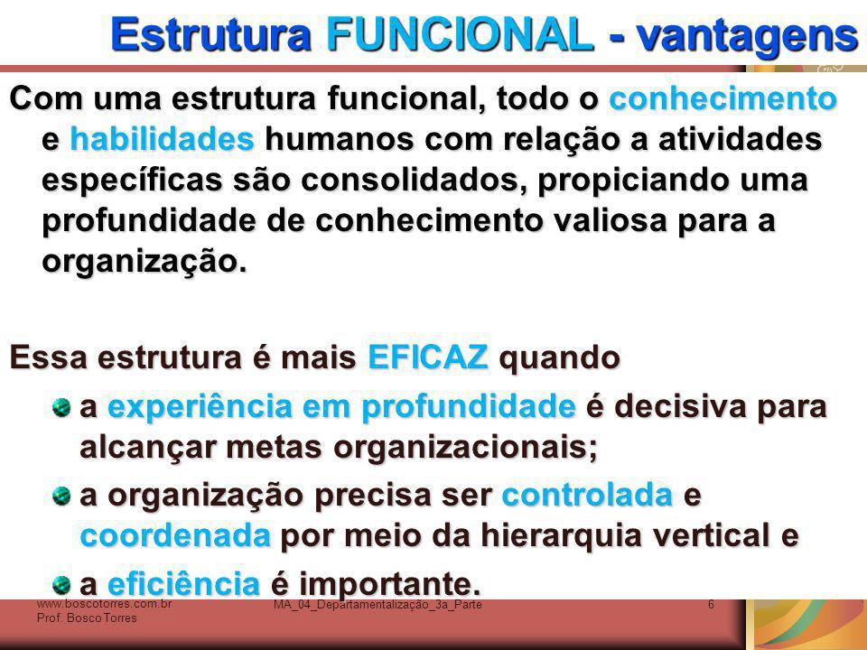 MA_04_Departamentalização_3a_Parte6 Estrutura FUNCIONAL - vantagens Com uma estrutura funcional, todo o conhecimento e habilidades humanos com relação