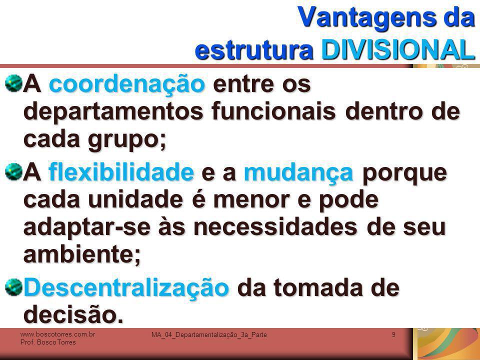 MA_04_Departamentalização_3a_Parte9 Vantagens da estrutura DIVISIONAL A coordenação entre os departamentos funcionais dentro de cada grupo; A flexibil