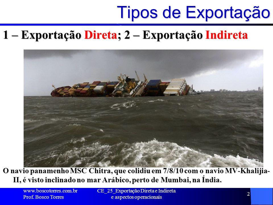 3 Exportação DIRETA A exportação DIRETA consiste na operação em que a mercadoria exportada é faturada pelo próprio COMERCIANTE ao IMPORTADOR.