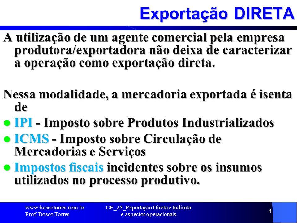 Exportação INDIRETA Exportação indireta trata-se de uma alternativa disponível para empresas que desejam iniciar seu processo de internacionalização, porém não possuem experiência suficiente para fazê-lo de forma independente.