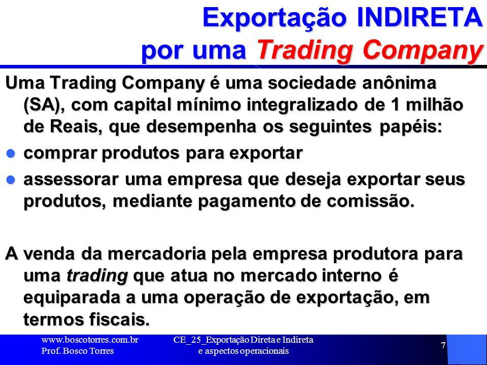 Exportação INDIRETA por um Consórcio de Exportação Um Consórcio de exportação é uma espécie de cooperativa que pressupõe a criação de uma marca sob a qual o produto será comercializado no(s) mercado(s)-alvo, não sendo necessário a criação de uma nova personalidade jurídica.