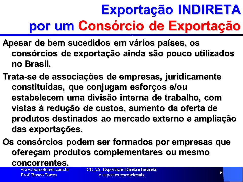 Tipos de Consórcios de Exportação 1 - Consórcio de Promoção de Exportações – esta forma de consórcio é mais recomendável para empresas que já possuem experiência em comércio exterior.