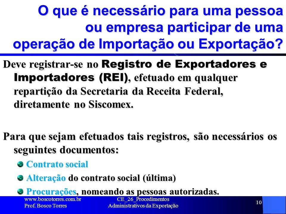 O que é necessário para uma pessoa ou empresa participar de uma operação de Importação ou Exportação? Deve registrar-se no Registro de Exportadores e