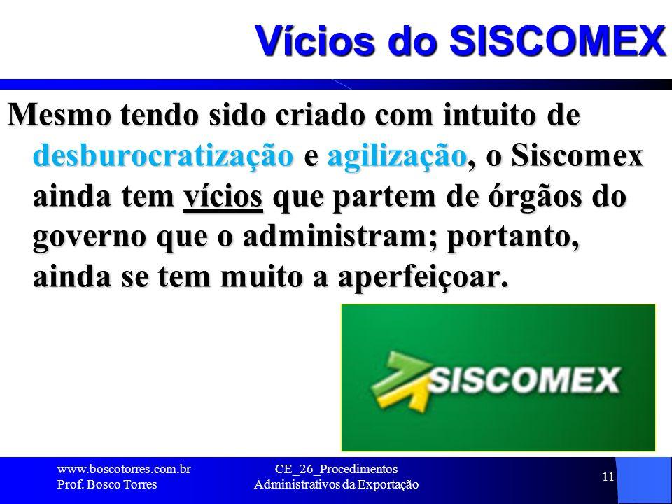 Vícios do SISCOMEX Mesmo tendo sido criado com intuito de desburocratização e agilização, o Siscomex ainda tem vícios que partem de órgãos do governo