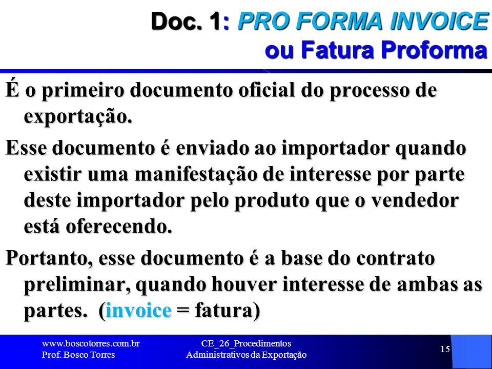 Doc. 1: PRO FORMA INVOICE ou Fatura Proforma É o primeiro documento oficial do processo de exportação. Esse documento é enviado ao importador quando e