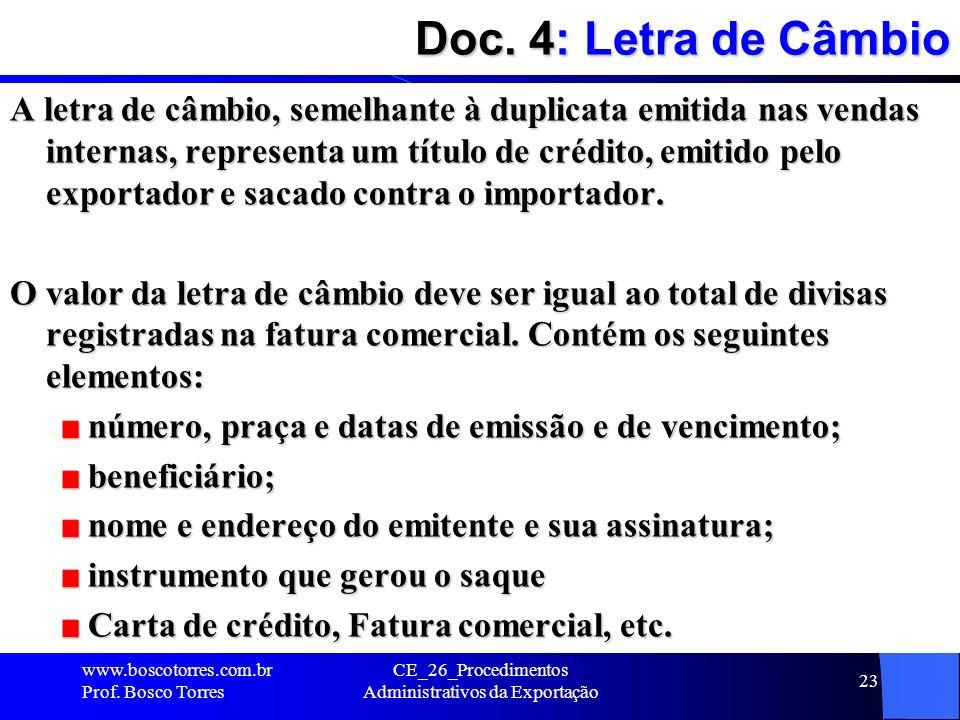 Doc. 4: Letra de Câmbio A letra de câmbio, semelhante à duplicata emitida nas vendas internas, representa um título de crédito, emitido pelo exportado