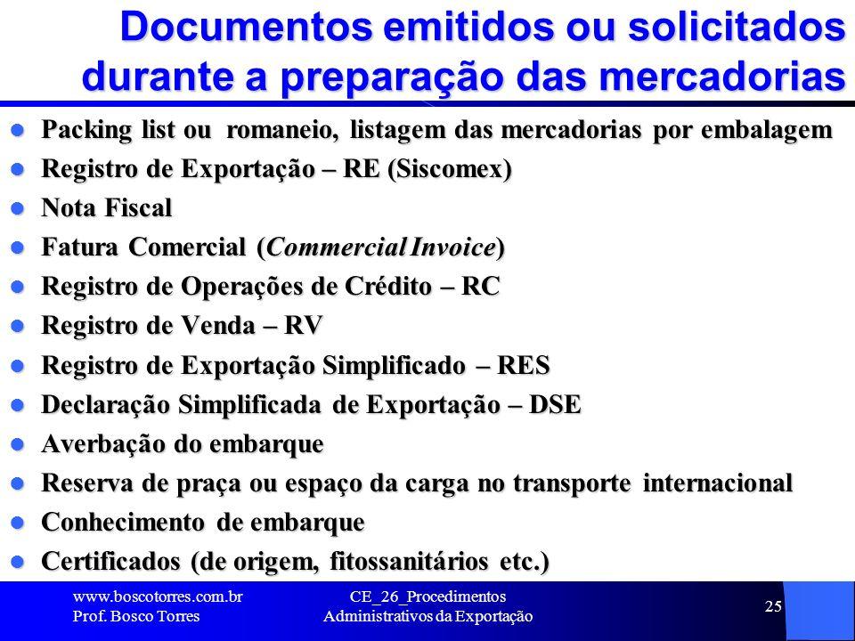 Documentos emitidos ou solicitados durante a preparação das mercadorias Packing list ou romaneio, listagem das mercadorias por embalagem Packing list