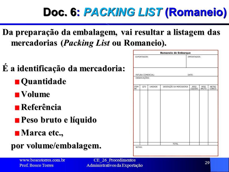 Doc. 6: PACKING LIST (Romaneio) Da preparação da embalagem, vai resultar a listagem das mercadorias (Packing List ou Romaneio). É a identificação da m