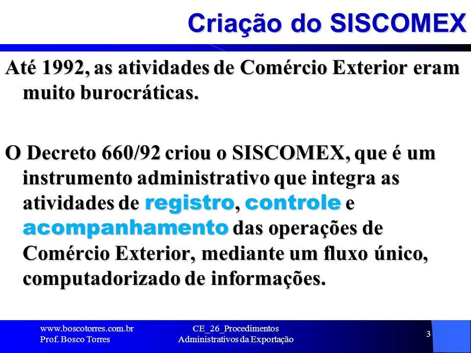 Administração do SISCOMEX O SISCOMEX é administrado pela Secretaria de Comércio Exterior, do MDIC - www2.desenvolvimento.gov.br/sitio/secex Secretaria da Receita Federal - www.receita.fazenda.gov.br www.receita.fazenda.gov.br Banco Central do Brasil (BACEN) - www.bcb.gov.br www.bcb.gov.br www.boscotorres.com.br Prof.