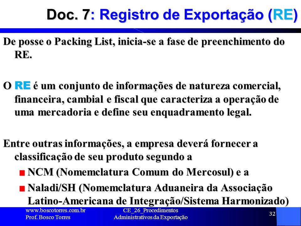 Doc. 7: Registro de Exportação (RE) De posse o Packing List, inicia-se a fase de preenchimento do RE. O RE é um conjunto de informações de natureza co