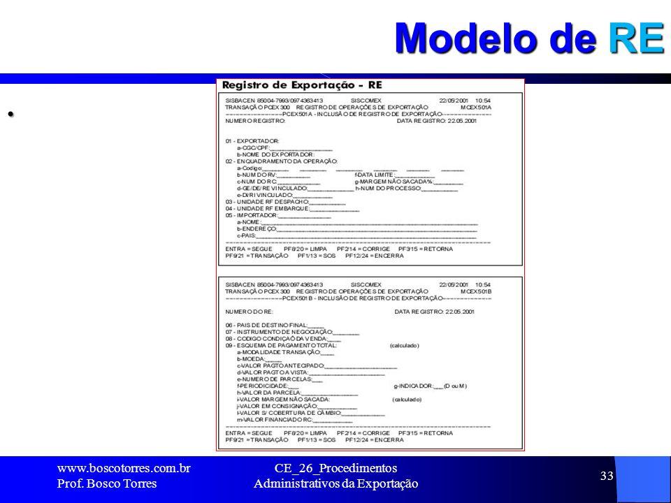 Modelo de RE. www.boscotorres.com.br Prof. Bosco Torres CE_26_Procedimentos Administrativos da Exportação 33