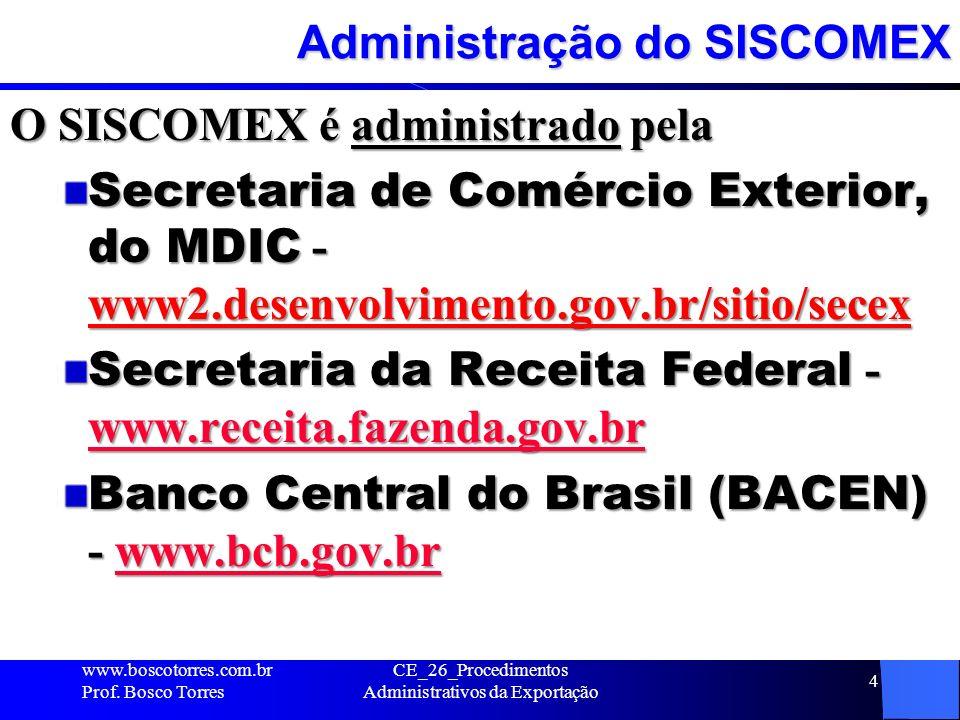 Orgãos anuentes do SISCOMEX COMEXE - Comando do Exército - www.exercito.gov.br www.exercito.gov.br MAPA - Ministério da Agricultura e do Abastecimento - www.agricultura.gov.br www.agricultura.gov.br ANVISA - Agência Nacional de Vigilância Sanitária – www.anvisa.gov.br www.anvisa.gov.br Ministério da Saúde - www.saude.gov.br www.saude.gov.br Instituto do Meio Ambiente e dos Recursos Naturais Renováveis (Ibama) - www.ibama.gov.br www.ibama.gov.br Departamento da Polícia Federal – www.dpf.gov.br www.dpf.gov.br outros www.boscotorres.com.br Prof.