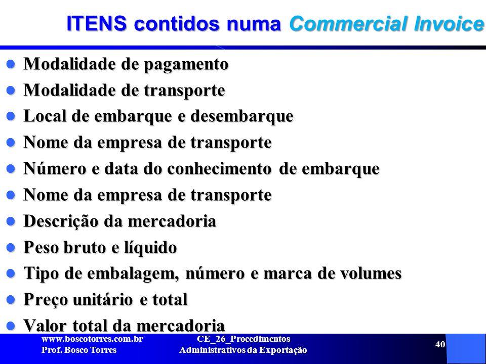 ITENS contidos numa Commercial Invoice Modalidade de pagamento Modalidade de pagamento Modalidade de transporte Modalidade de transporte Local de emba