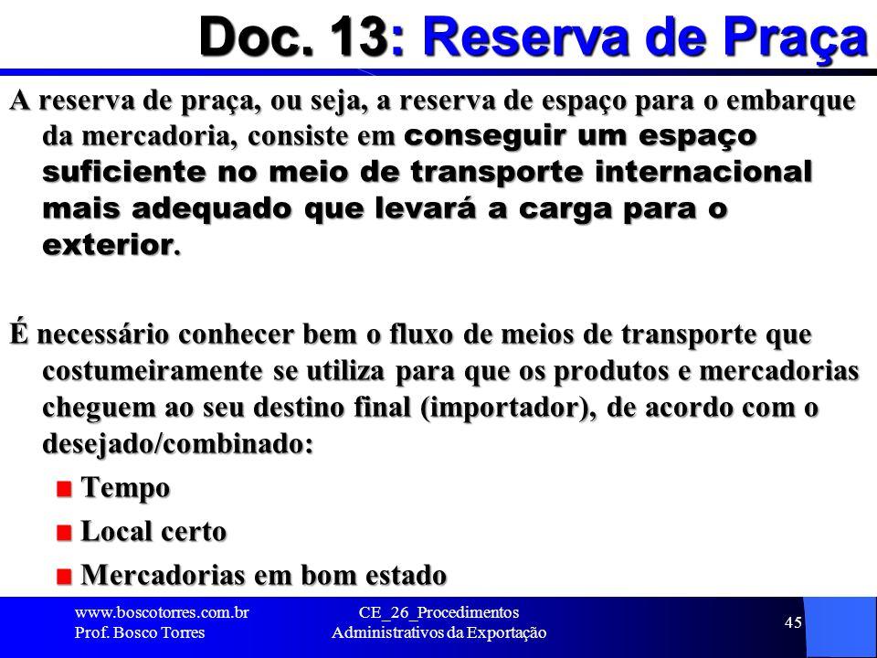 Doc. 13: Reserva de Praça A reserva de praça, ou seja, a reserva de espaço para o embarque da mercadoria, consiste em conseguir um espaço suficiente n