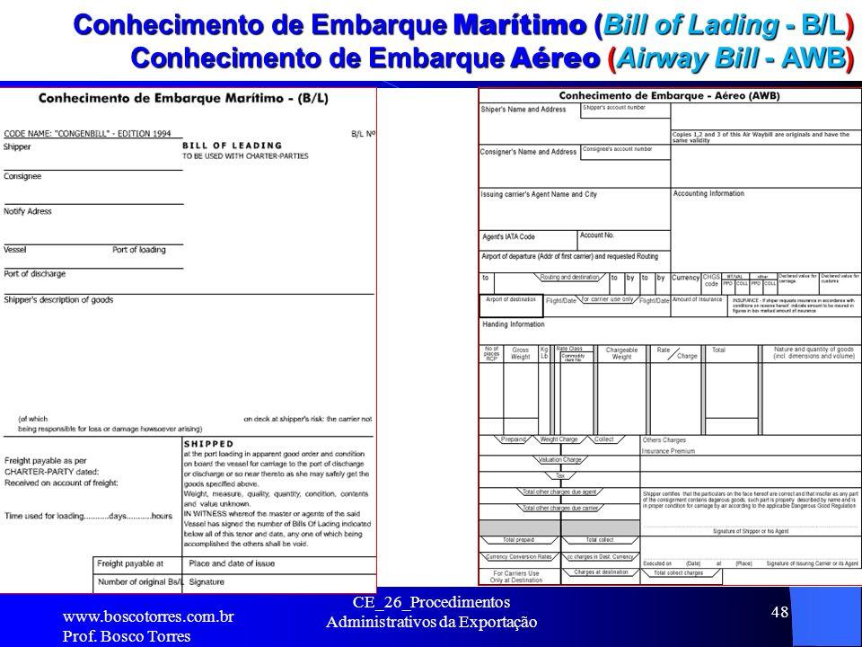 Conhecimento de Embarque Marítimo (Bill of Lading - B/L) Conhecimento de Embarque Aéreo (Airway Bill - AWB). www.boscotorres.com.br Prof. Bosco Torres