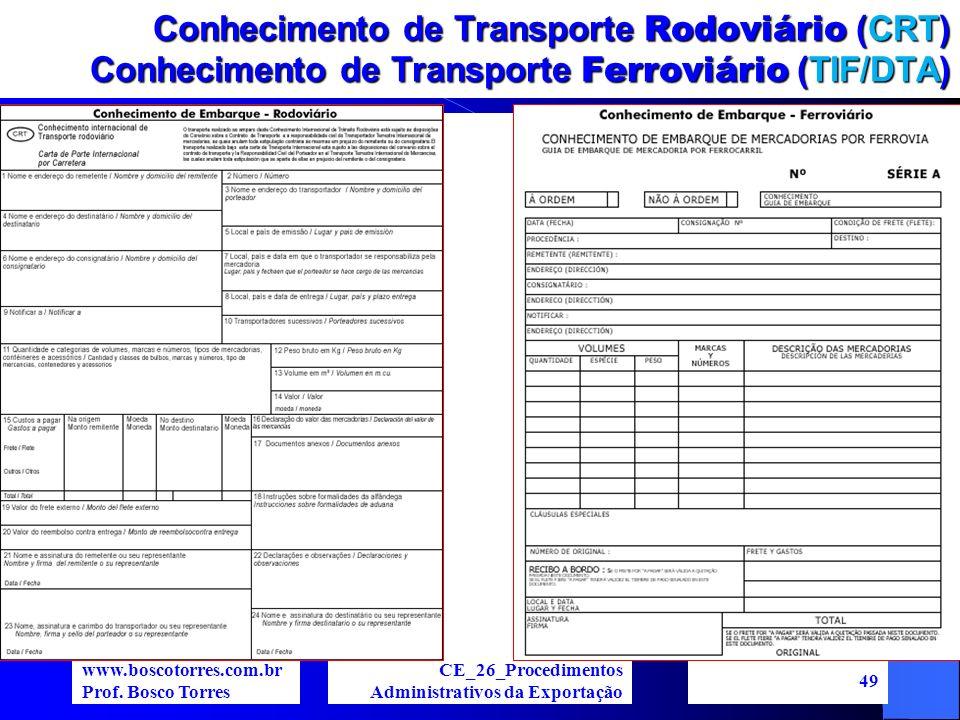 Conhecimento de Transporte Rodoviário (CRT) Conhecimento de Transporte Ferroviário (TIF/DTA). www.boscotorres.com.br Prof. Bosco Torres CE_26_Procedim