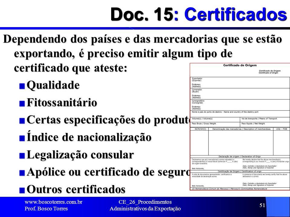 Doc. 15: Certificados Dependendo dos países e das mercadorias que se estão exportando, é preciso emitir algum tipo de certificado que ateste: Qualidad