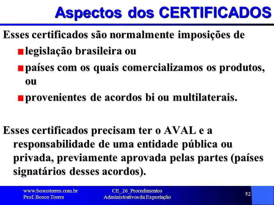 Aspectos dos CERTIFICADOS Esses certificados são normalmente imposições de legislação brasileira ou países com os quais comercializamos os produtos, o