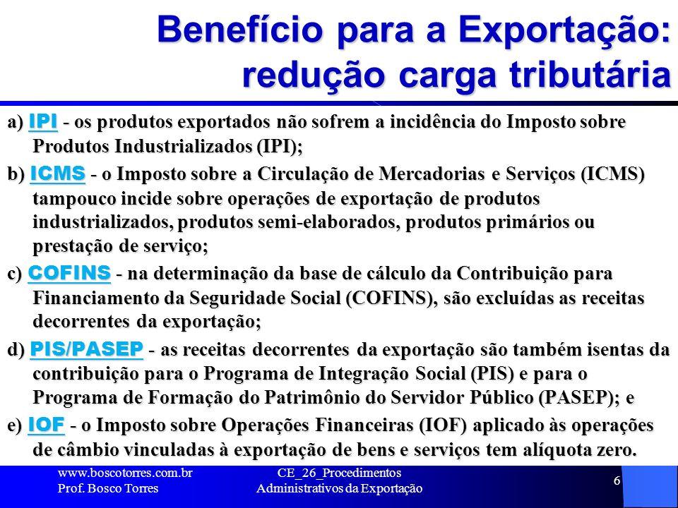 Benefício para a Exportação: redução carga tributária a) IPI - os produtos exportados não sofrem a incidência do Imposto sobre Produtos Industrializad
