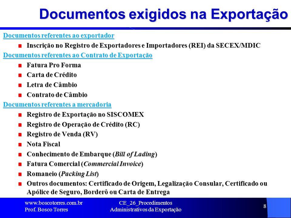 Documentos exigidos na Exportação Documentos referentes ao exportador Inscrição no Registro de Exportadores e Importadores (REI) da SECEX/MDIC Documen