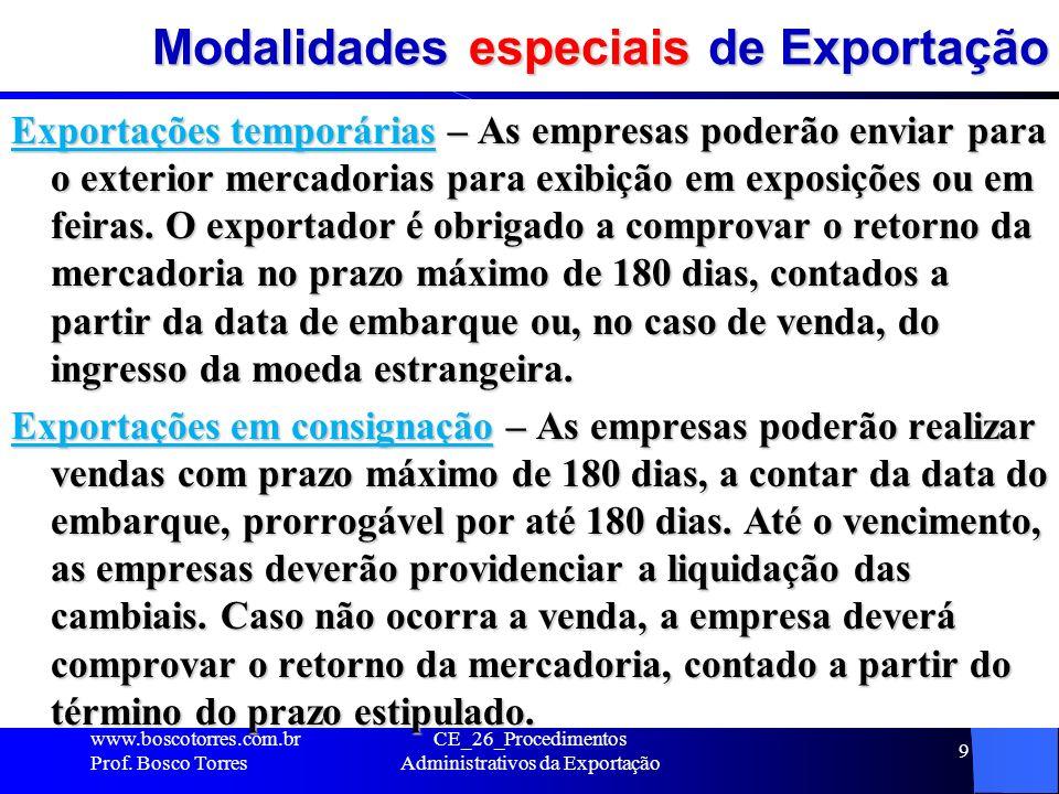 Modalidades especiais de Exportação Exportações temporárias – As empresas poderão enviar para o exterior mercadorias para exibição em exposições ou em