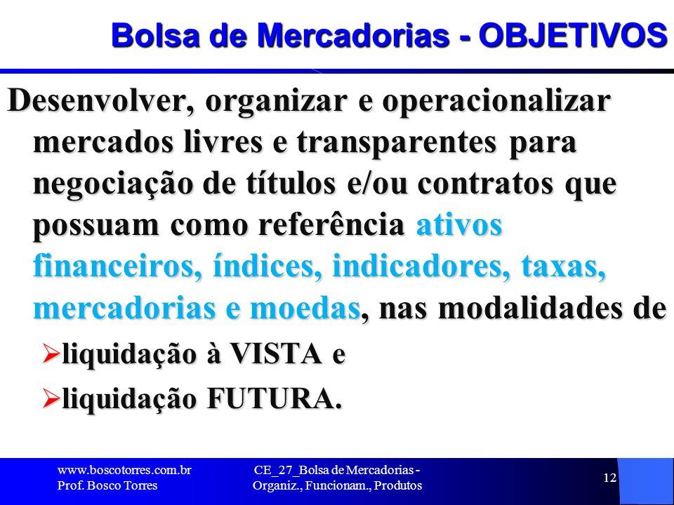 Bolsa de Mercadorias - OBJETIVOS Desenvolver, organizar e operacionalizar mercados livres e transparentes para negociação de títulos e/ou contratos qu