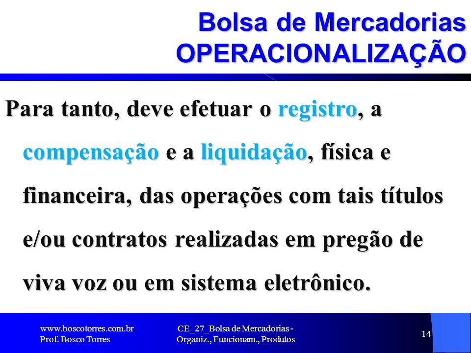 CE_27_Bolsa de Mercadorias - Organiz., Funcionam., Produtos 14 Bolsa de Mercadorias OPERACIONALIZAÇÃO Para tanto, deve efetuar o registro, a compensaç