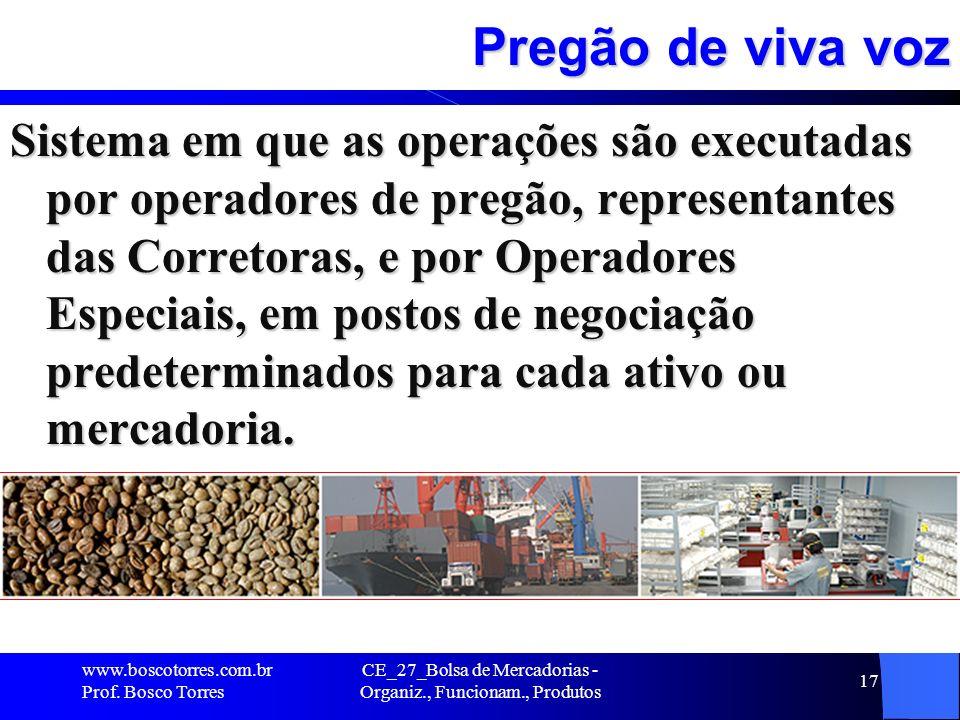CE_27_Bolsa de Mercadorias - Organiz., Funcionam., Produtos 17 Pregão de viva voz Sistema em que as operações são executadas por operadores de pregão,