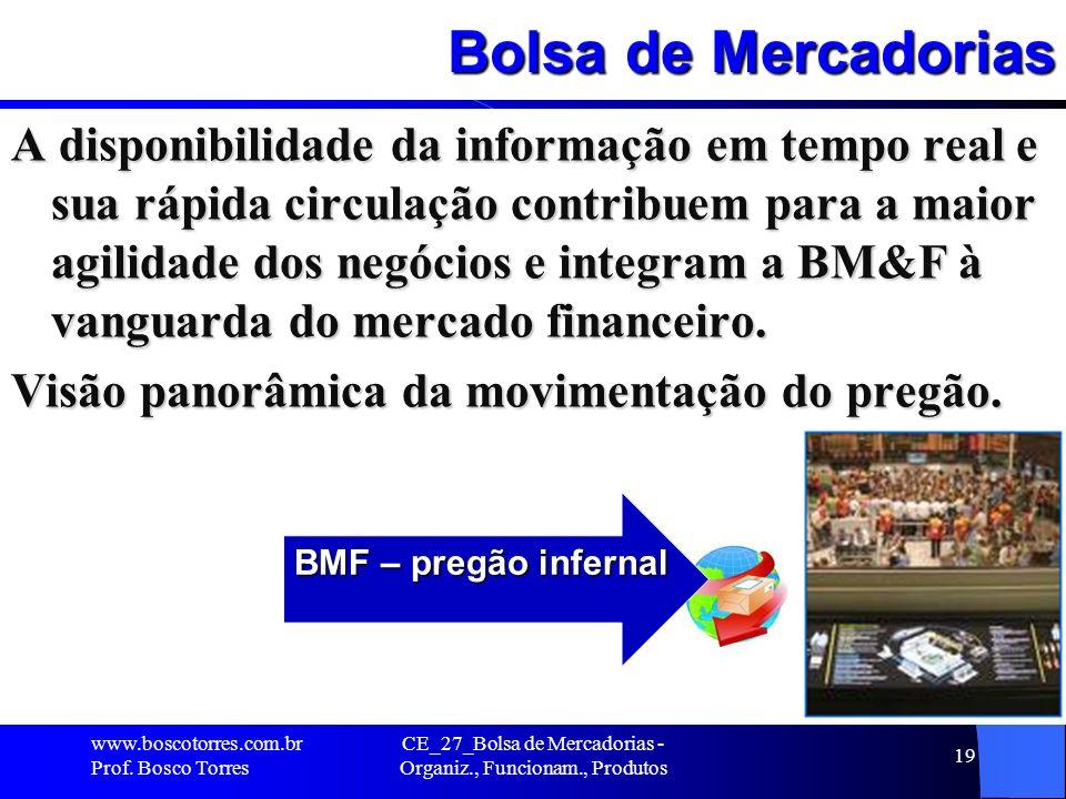 CE_27_Bolsa de Mercadorias - Organiz., Funcionam., Produtos 19 Bolsa de Mercadorias A disponibilidade da informação em tempo real e sua rápida circula
