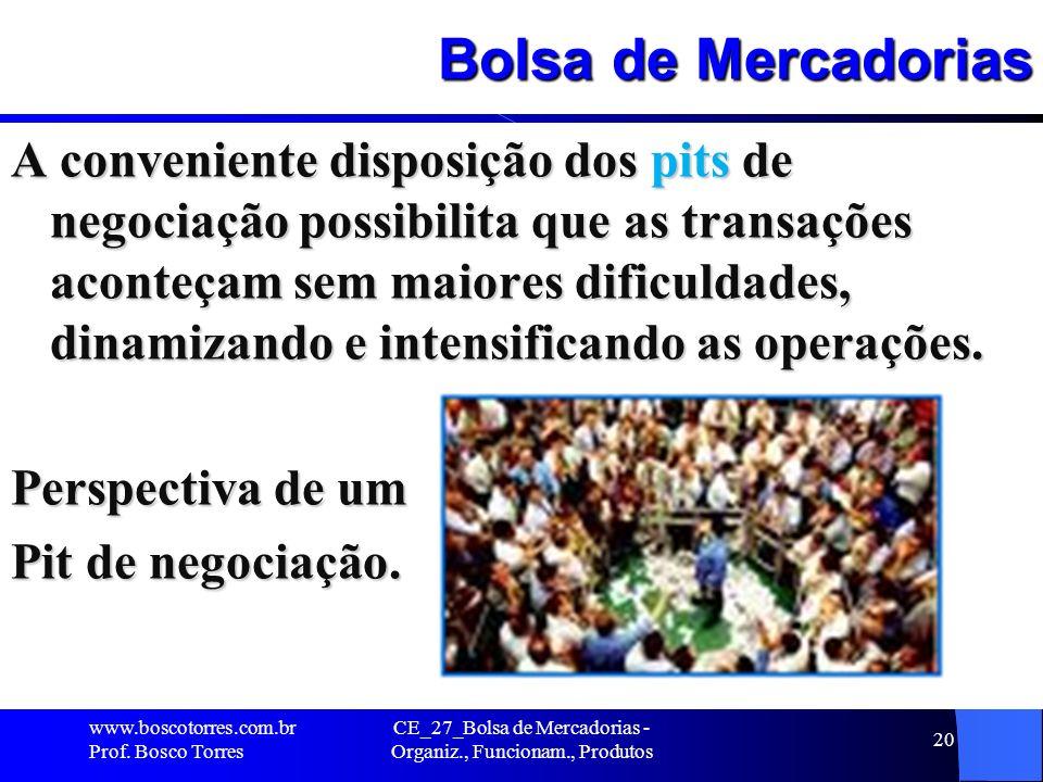 CE_27_Bolsa de Mercadorias - Organiz., Funcionam., Produtos 20 Bolsa de Mercadorias A conveniente disposição dos pits de negociação possibilita que as