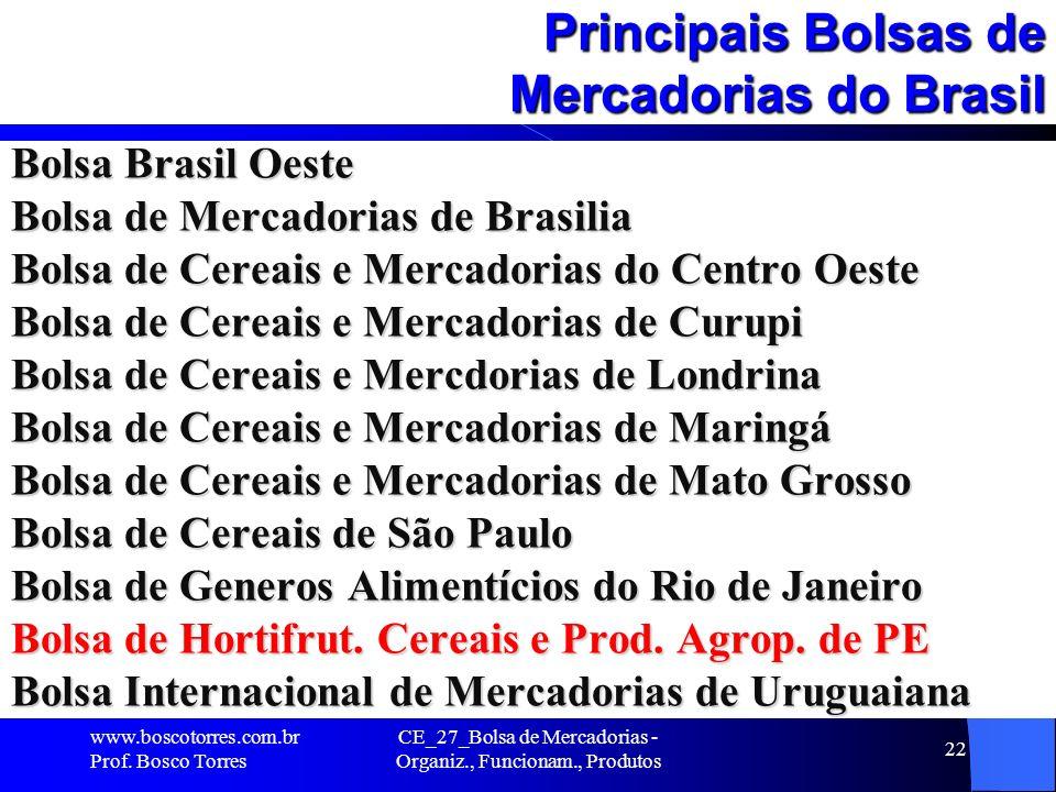 CE_27_Bolsa de Mercadorias - Organiz., Funcionam., Produtos 22 Principais Bolsas de Mercadorias do Brasil Bolsa Brasil Oeste Bolsa de Mercadorias de B