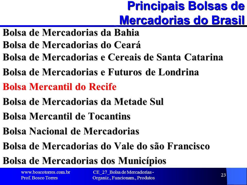CE_27_Bolsa de Mercadorias - Organiz., Funcionam., Produtos 23 Principais Bolsas de Mercadorias do Brasil Bolsa de Mercadorias da Bahia Bolsa de Merca