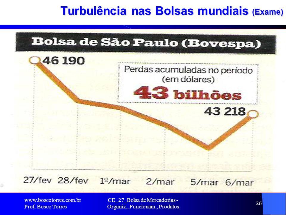 CE_27_Bolsa de Mercadorias - Organiz., Funcionam., Produtos 26 Turbulência nas Bolsas mundiais (Exame). www.boscotorres.com.br Prof. Bosco Torres