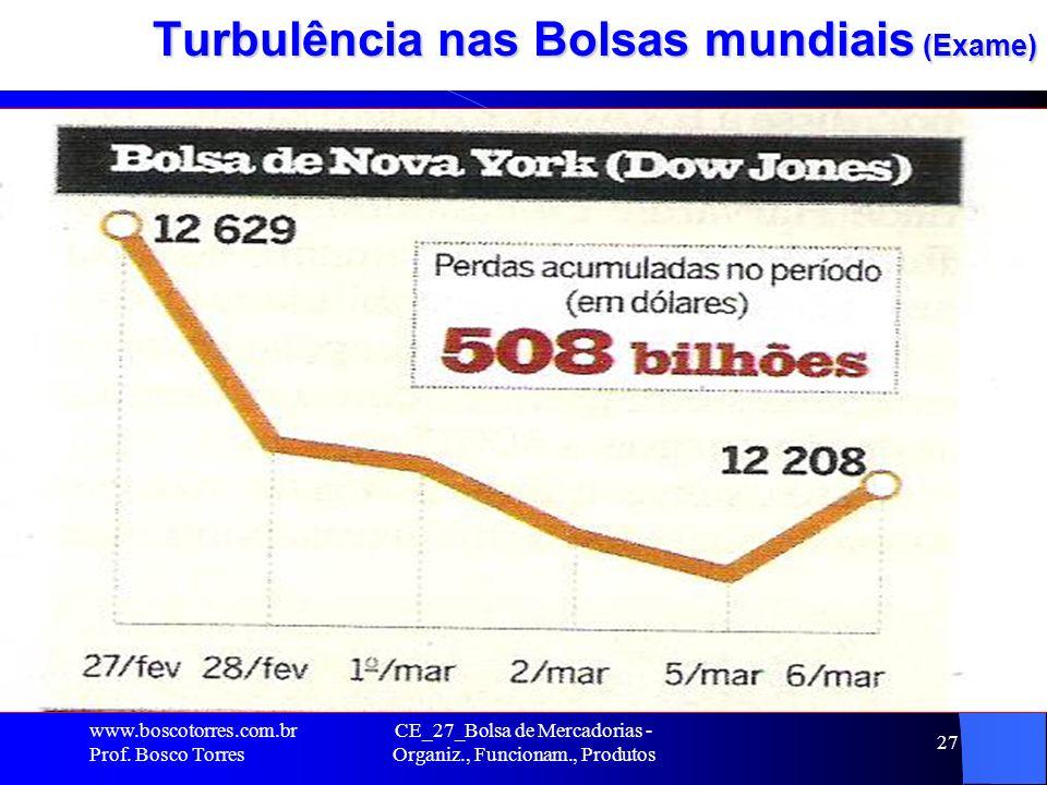 CE_27_Bolsa de Mercadorias - Organiz., Funcionam., Produtos 27 Turbulência nas Bolsas mundiais (Exame). www.boscotorres.com.br Prof. Bosco Torres
