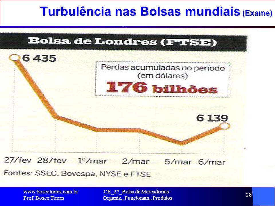CE_27_Bolsa de Mercadorias - Organiz., Funcionam., Produtos 28 Turbulência nas Bolsas mundiais (Exame). www.boscotorres.com.br Prof. Bosco Torres