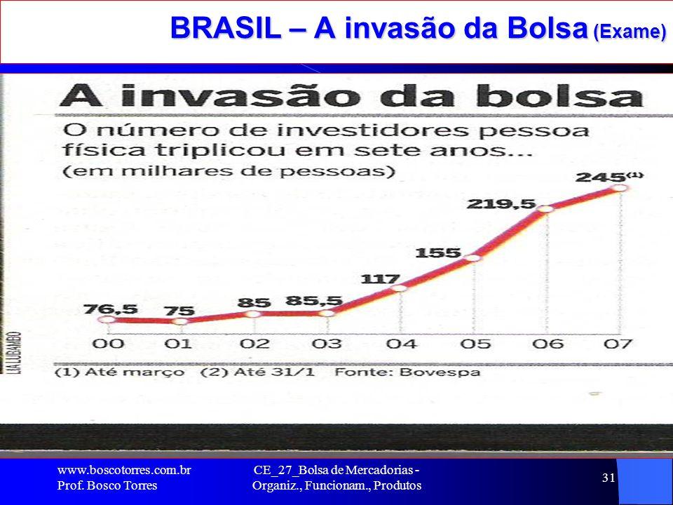 CE_27_Bolsa de Mercadorias - Organiz., Funcionam., Produtos 31 BRASIL – A invasão da Bolsa (Exame). www.boscotorres.com.br Prof. Bosco Torres