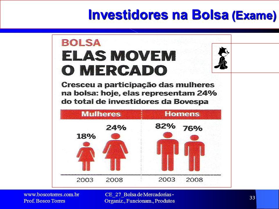 Investidores na Bolsa (Exame). www.boscotorres.com.br Prof. Bosco Torres CE_27_Bolsa de Mercadorias - Organiz., Funcionam., Produtos 33