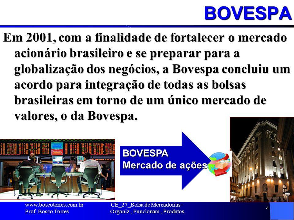BOVESPA Em 2001, com a finalidade de fortalecer o mercado acionário brasileiro e se preparar para a globalização dos negócios, a Bovespa concluiu um a