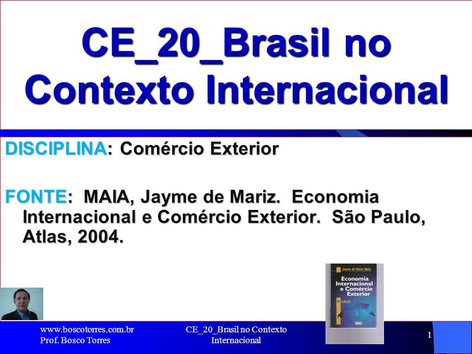 CE_20_Brasil no Contexto Internacional 1 DISCIPLINA: Comércio Exterior FONTE: MAIA, Jayme de Mariz. Economia Internacional e Comércio Exterior. São Pa