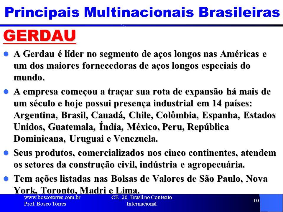 Principais Multinacionais Brasileiras GERDAU A Gerdau é líder no segmento de aços longos nas Américas e um dos maiores fornecedoras de aços longos esp