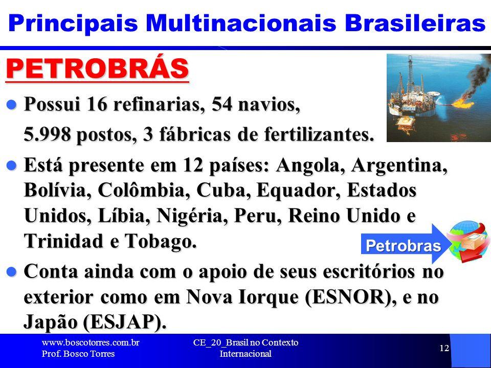 CE_20_Brasil no Contexto Internacional 12 Principais Multinacionais Brasileiras PETROBRÁS Possui 16 refinarias, 54 navios, Possui 16 refinarias, 54 na