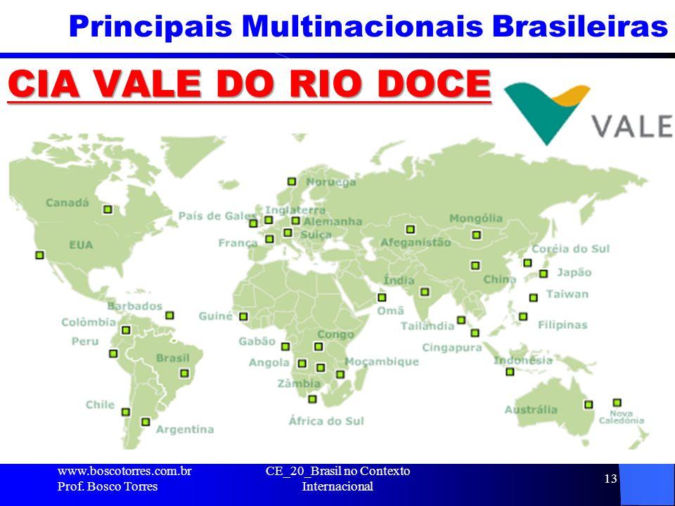 Principais Multinacionais Brasileiras CIA VALE DO RIO DOCE www.boscotorres.com.br Prof. Bosco Torres CE_20_Brasil no Contexto Internacional 13