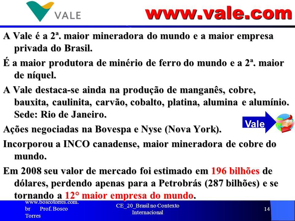 www.vale.com A Vale é a 2ª. maior mineradora do mundo e a maior empresa privada do Brasil. É a maior produtora de minério de ferro do mundo e a 2ª. ma